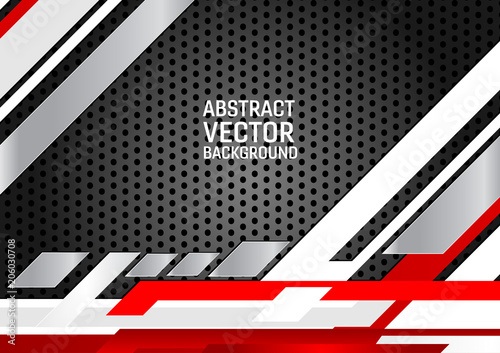 Abstract Geometric Background White Gray And Black And Red