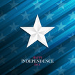 USA Happy Independence Day greeting card with silver star on blue background. 4th of july national holiday vector illustration.