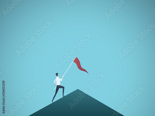 Business leader vector concept with businessman planting flag on top of mountain Canvas Print