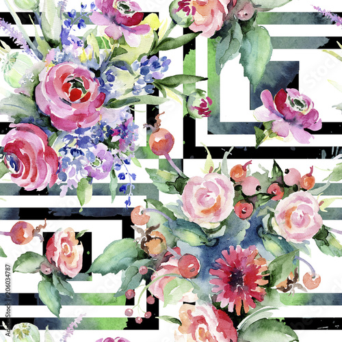 Fototapety, obrazy: Colorful bouquet. Seamless background pattern. Fabric wallpaper print texture. Aquarelle wildflower for background, texture, wrapper pattern, frame or border.