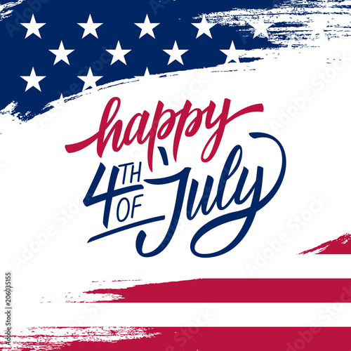 Fotografia  Happy Independence Day greeting card with brush stroke background in United States national flag colors and hand lettering text Happy 4th of July