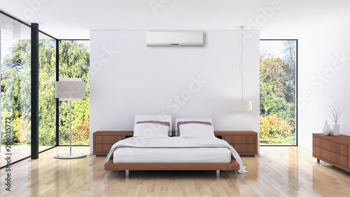 Fotografia  Modern bright bed room with air conditioning interiors 3D rendering illustration