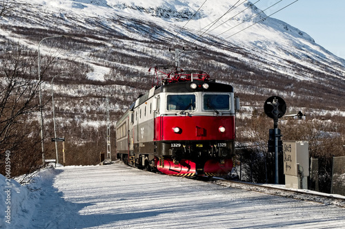 Train in Nordic countryside