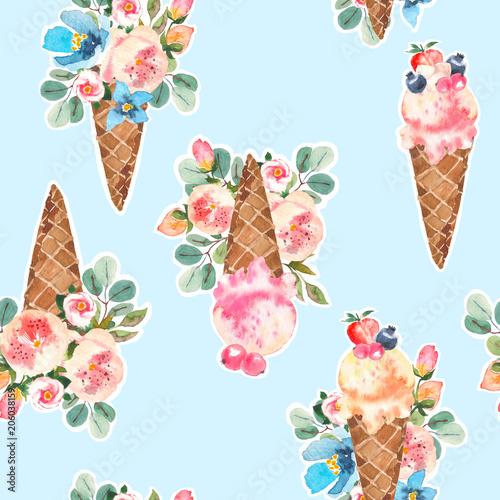akwarela-lody-szyszki-i-kwitnace-roze-eucaliptus-bukiet-kwiatow-wzor