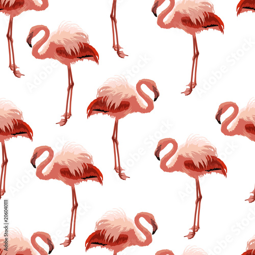 Garden Poster Flamingo Seamless pattern with pink flamingo.