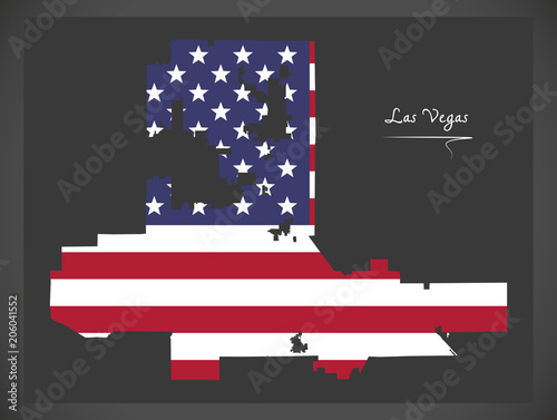 Las Vegas Nevada map with American national flag illustration ...