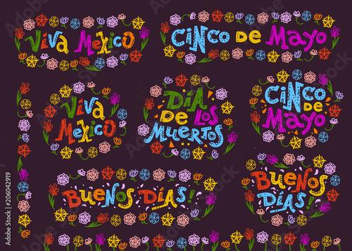 Vector Flat Set Of Mexican Quotes Lettering For Different Oc Ions Events Cinco De Mayo Dia De Los Muertos Viva Mexico Buenos Dias And Am