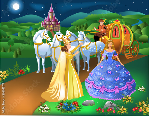 Fotomural Cinderella scene with godmother fairy transforming pumpkin into carriage with ho
