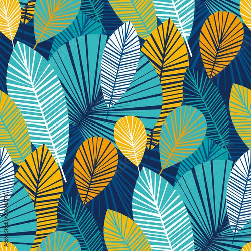 fototapeta na szkło Vibrant cool leaves seamless pattern