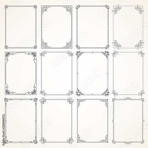 Vector Calligraphic Frame set Wall mural