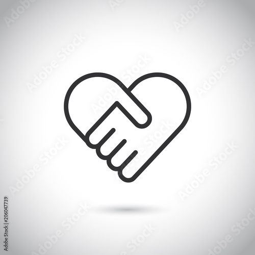 Two hands in shape of heart. Vector modern thin line icon. Wallpaper Mural