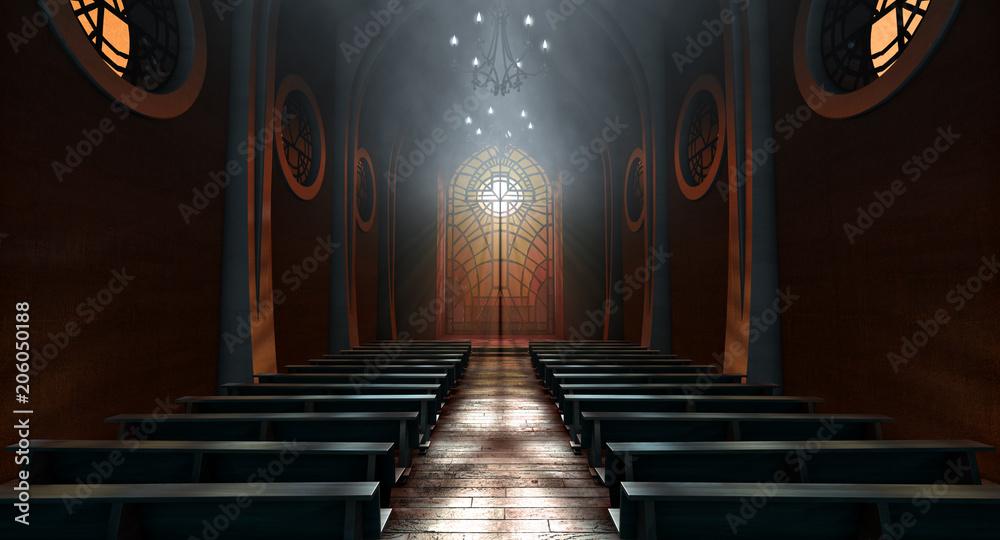 Fototapety, obrazy: Stained Glass Window Church