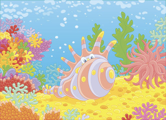 Fototapeta na wymiar Exotic shell of among colorful corals on a reef in a tropical sea, vector illustration in a cartoon style