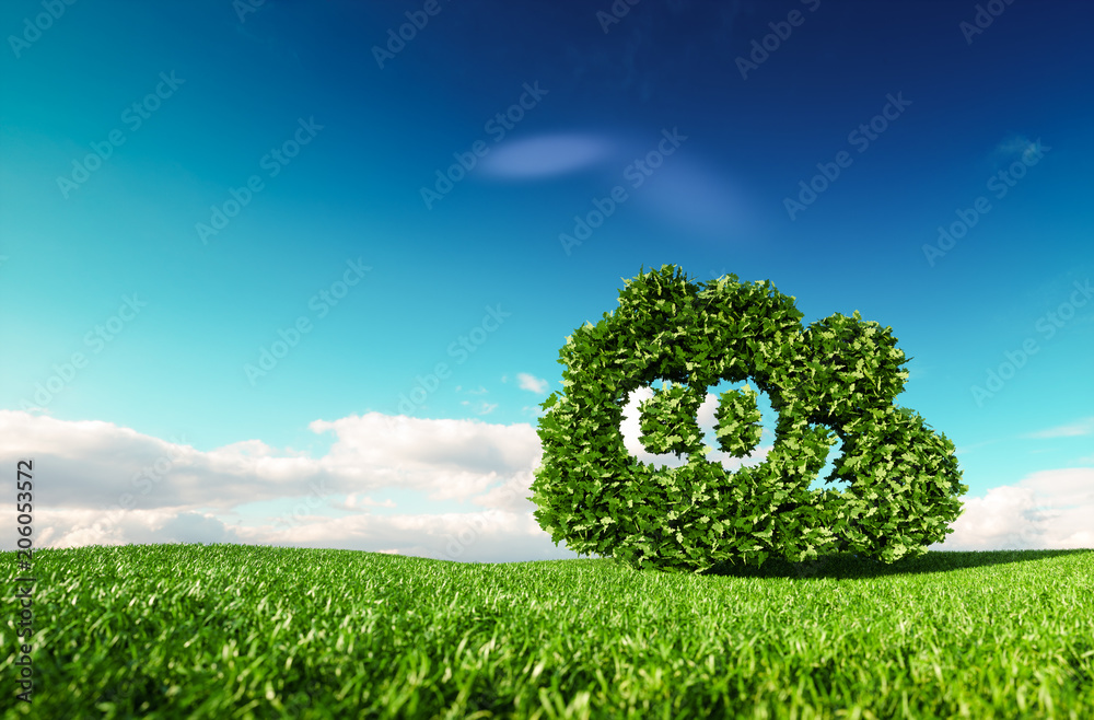 Fototapeta Carbon dioxide emissions control concept. 3d rendering of co2 cloud on fresh spring meadow with blue sky in background.