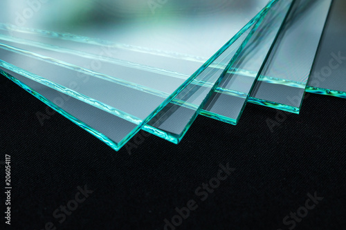 Sheets of Factory manufacturing tempered clear float glass panels cut to size - fototapety na wymiar