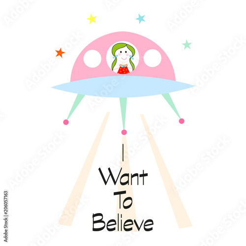 Stampa su Tela i want to believe slogan with cute girl