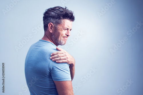 Canvastavla People, healthcare and problem concept - unhappy man suffering from neck or shou