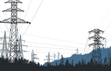 Electric Towers In Forest Isol...