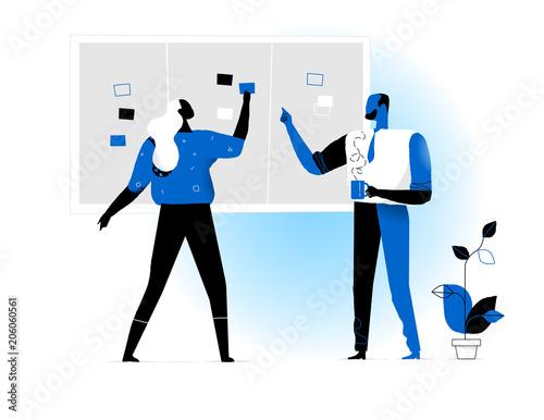 Manager che pianificano le attività di progetto sulla board Wallpaper Mural