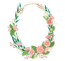 Oval Frame With Flower, Leaf, Berry And Plant. Vector Illustration For Wedding, Greeting, Invitation Or Other   Spring And Summer Design