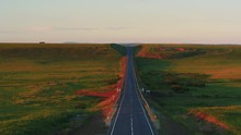 Aerial View Of Empty Paved Roa...