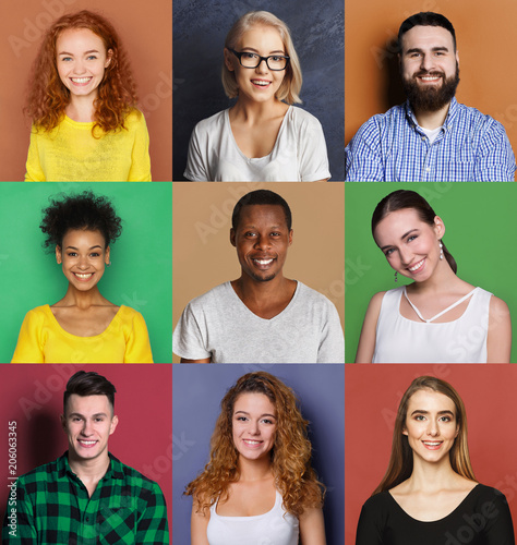 Fototapety, obrazy: Diverse young people positive emotions set