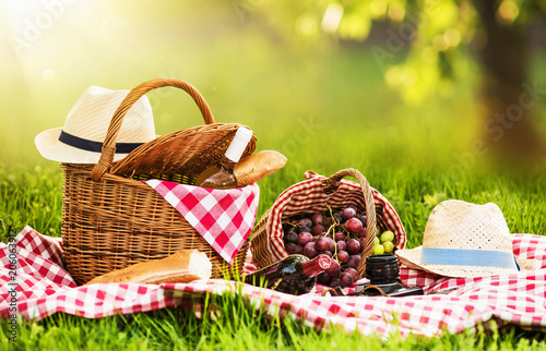 Ingelijste posters Picknick Picnic on a Sunny Day with Red Grapes and Wine