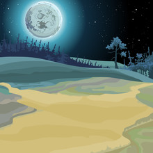 Cartoon Background Of A Fairy Forest Moonlit Night