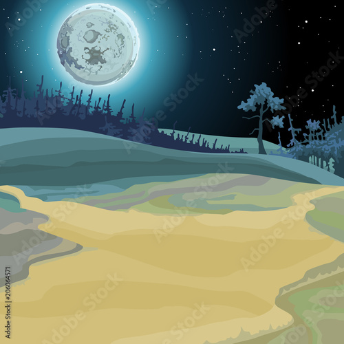 Valokuva cartoon background of a fairy forest moonlit night