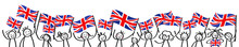 Cheering Crowd Of Happy Stick Figures With British National Flags, Great Britain Supporters Smiling And Waving Union Jack Flags Isolated On White Background
