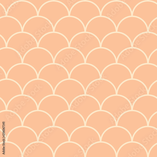Cotton fabric Mermaid tail seamless pattern. Fish skin texture. Tillable background for girl fabric, textile design, wrapping paper, swimwear or wallpaper. Peach mermaid tail background with fish scale underwater.