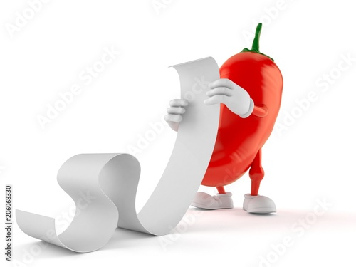 Hot paprika character reading a long list - Buy this stock