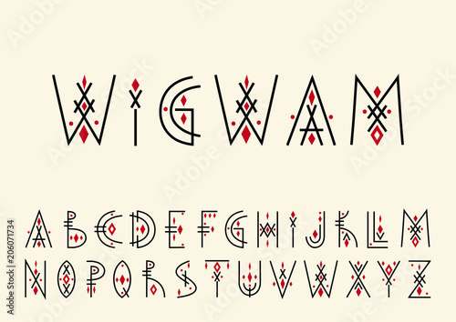 Photo sur Toile Style Boho Vector alphabet set. Capital letters in geometric indigenous style. For hipster theme, trendy posters.