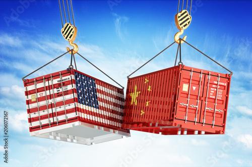 Valokuvatapetti Economic trade war between USA and China, freight transportation concept, cargo