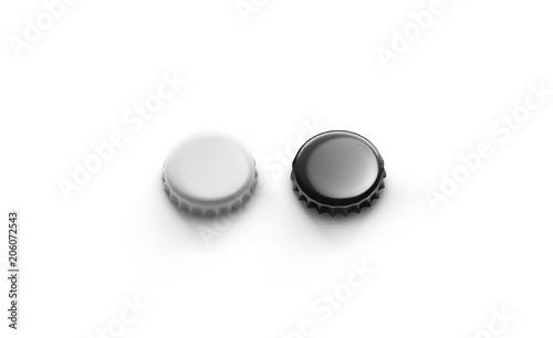 Blank black and silver beer lid mockup, top side view, 3d rendering