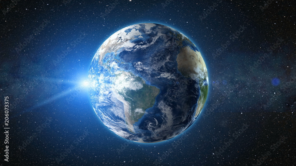 Fototapety, obrazy: Sunrise view from space on Planet Earth. South America zone. World in black Universe in stars. High detailed 3D Render animation. Realistic world globe. Elements of this image furnished by NASA