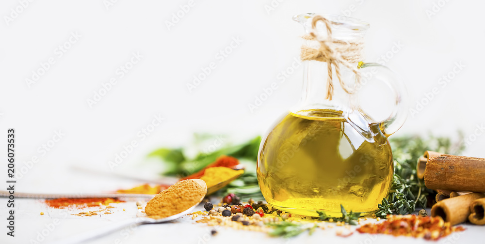 Fototapety, obrazy: Olive oil with spices and herbs