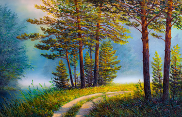 Obraz Oil painting landscape , colorful summer forest.