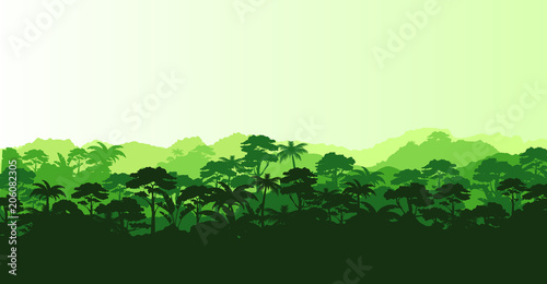 Photo  Vector illustration of horizontal panorama tropical rainforest in silhouette style with trees and mountains, jungle concept
