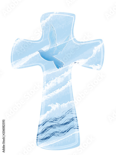 Stampa su Tela Christian cross baptism with dove on watercolor background