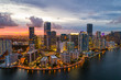 canvas print picture - Aerial drone photo of Brickell on the bay Miami Florida twilight