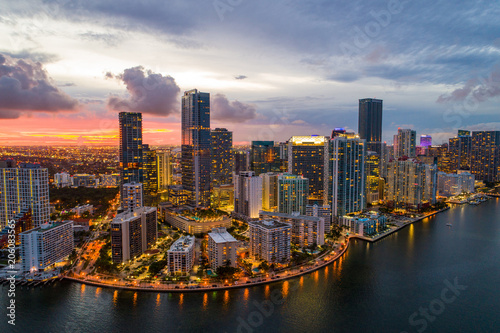 Fotografie, Tablou  Aerial drone photo of Brickell on the bay Miami Florida twilight