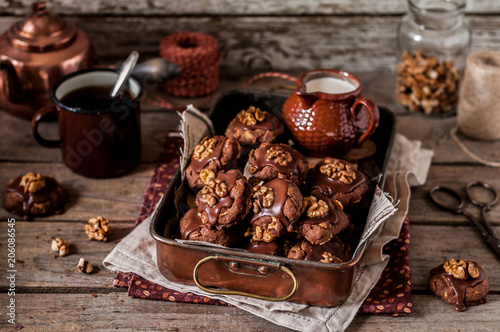 Chocolate, Corn Flake and Walnut Cookies Canvas Print