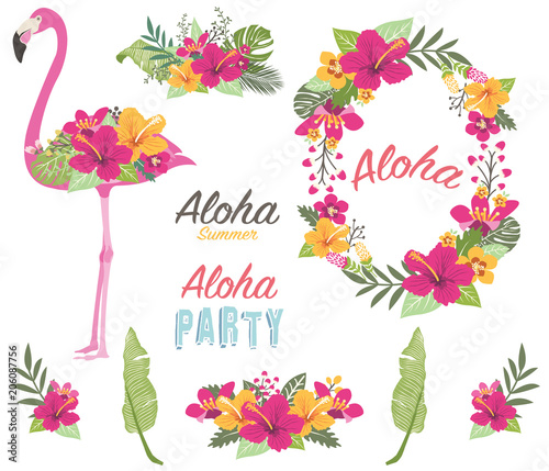 Photo Aloha Flower Flamingo Collections