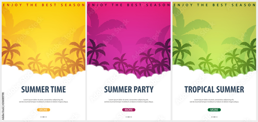 Fototapety, obrazy: Summer Tropical backgrounds set with palms. Summer placard poster flyer invitation card. Summer time. Vector Illustration