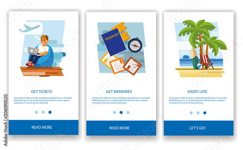 Tourism concept. Tourism concept for mobile apps. The concept of a tourist mobile application. Modern interface UX, UI GUI screen template for mobile smart phone. Flat style. Flat design. Vector