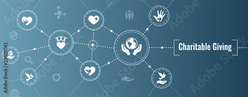Leinwand Poster Charity and relief work - Charitable Giving Web banner with icon set