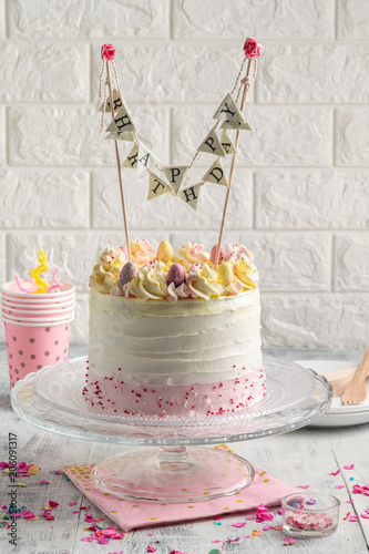 White Confetti Birthday Cake With Sprinkles And Colorful Bunting Banner Happy Vertical
