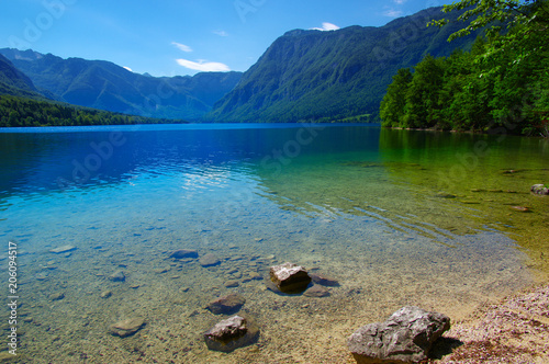 Foto op Canvas Bergen Landscape Bohinj Lake,with clear water.