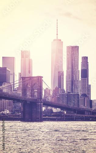Foto op Plexiglas New York City Vintage toned picture of Manhattan skyline at sunset, New York City, USA.